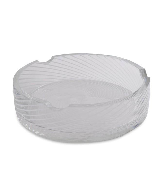 Spiral White and Clear Murano Glass Dish
