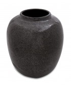 Black Metallic Glazed Earthenware Vessel