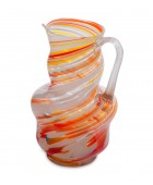 Art Glass Drinks Pitcher, Multi-Orange