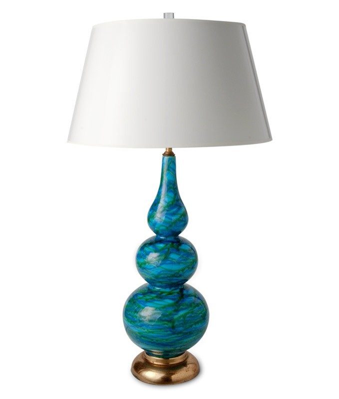 Blue Glazed Ceramic Table Lamp