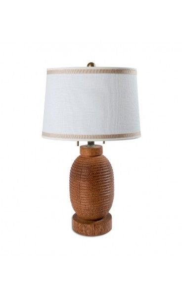 Turned Coconut Wood Table Lamp