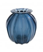 Fluted Blue Murano Vase